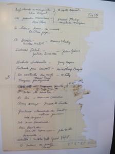 Folha original, com lista de filmes de arte exibidos na década de 1950 em Campinas (Foto José Pedro Martins)